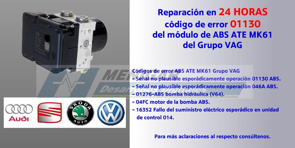 Reparación del código de error 01130 abs Grupo VAG
