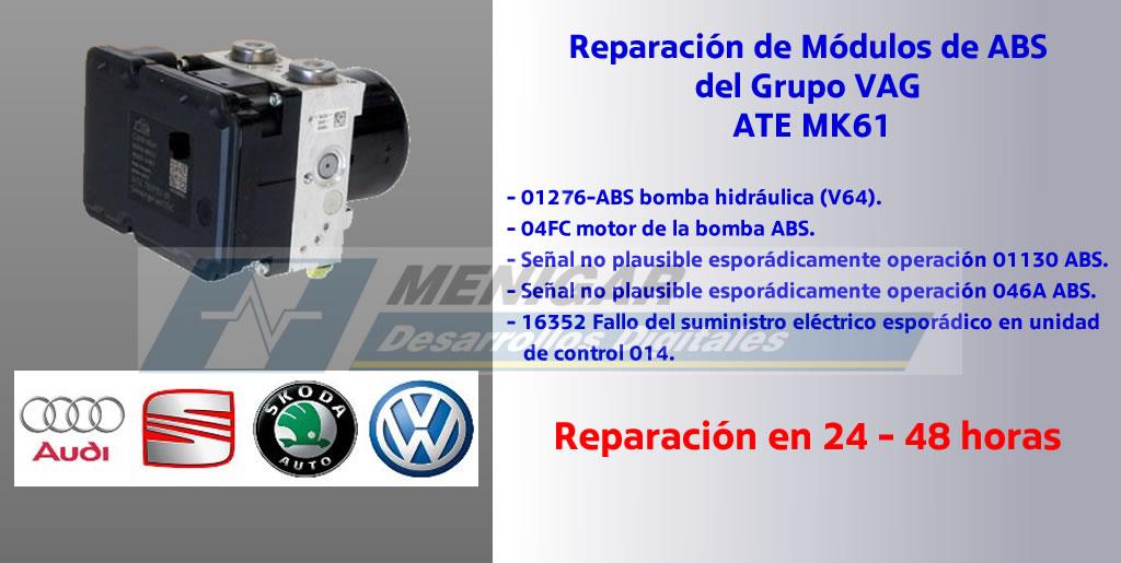 Reparación fallos 01130, 16352 y 01246 ABS Grupo VAG